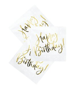 Servietten Happy Birthday in weiß mit Folienprint in Gold