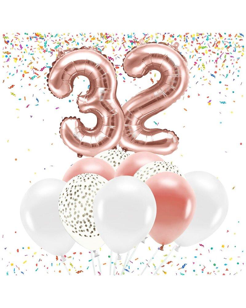 86cm Folienballon-Deko Zahl 32 Geburtstag Jubiläum rosegold metallic 20 Teile